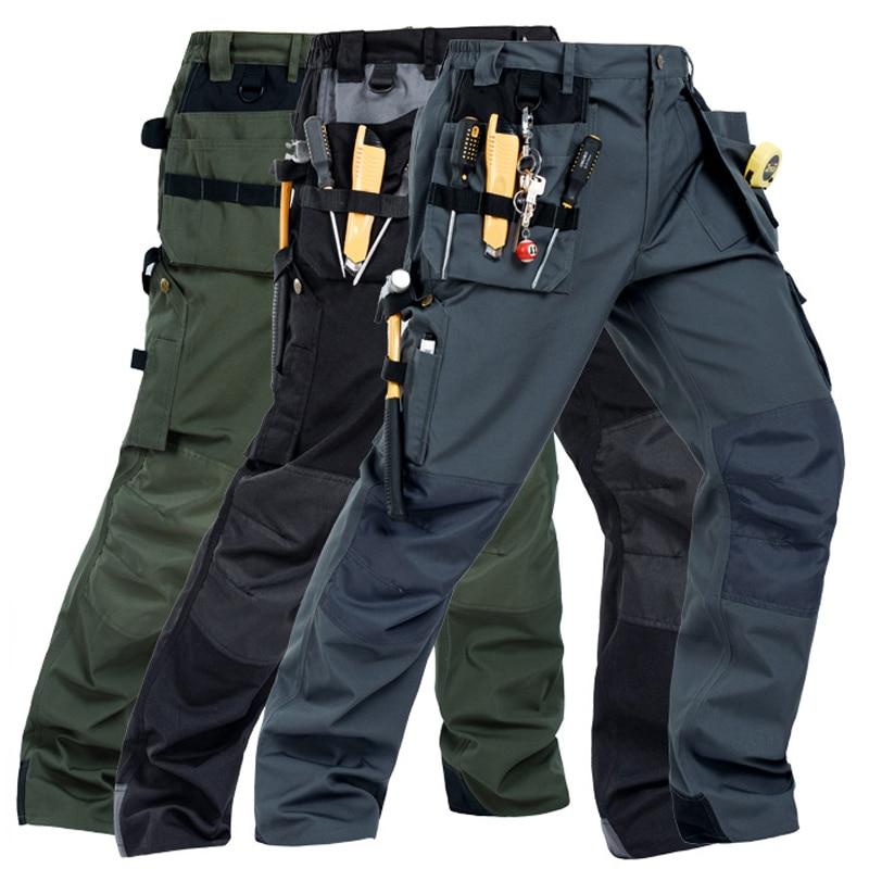 Men Working Pants Multi-pockets Wear-resistant Worker Mechanic Cargo Pants Work Wear Trousers High Quality Machine Repair Pants