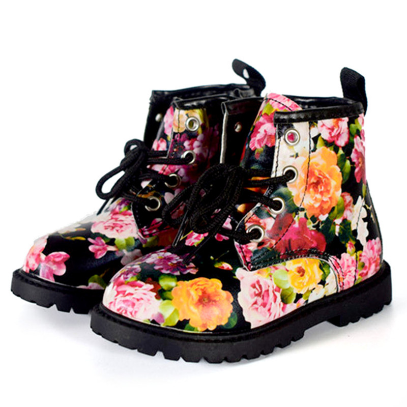2018 Fashion Printing Children Shoes Girls Boots PU ...