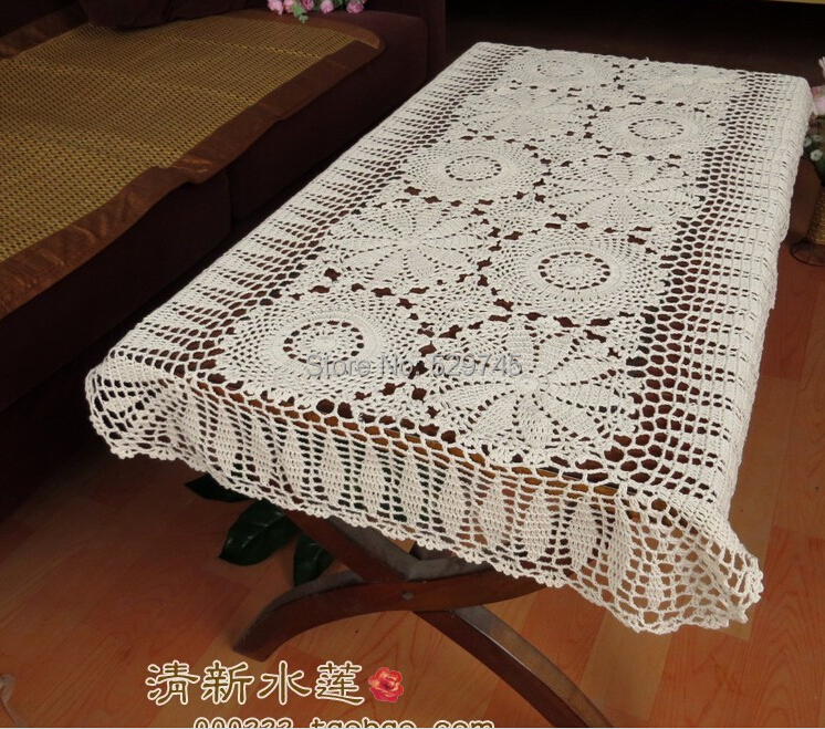 Handmade Crochet Flowers Sofa Towel Tablecloth Table Runner Woven Doilies Cotton Lace Hollow Coffee Table Cloth Cover Cloth
