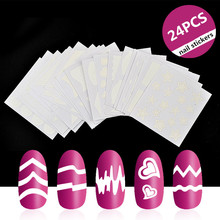 купить 24 Sheets French Manicure DIY Nail Art Tips Guides Stickers Stencil Strip Beauty Nail Tools Decoration Dropshipping онлайн
