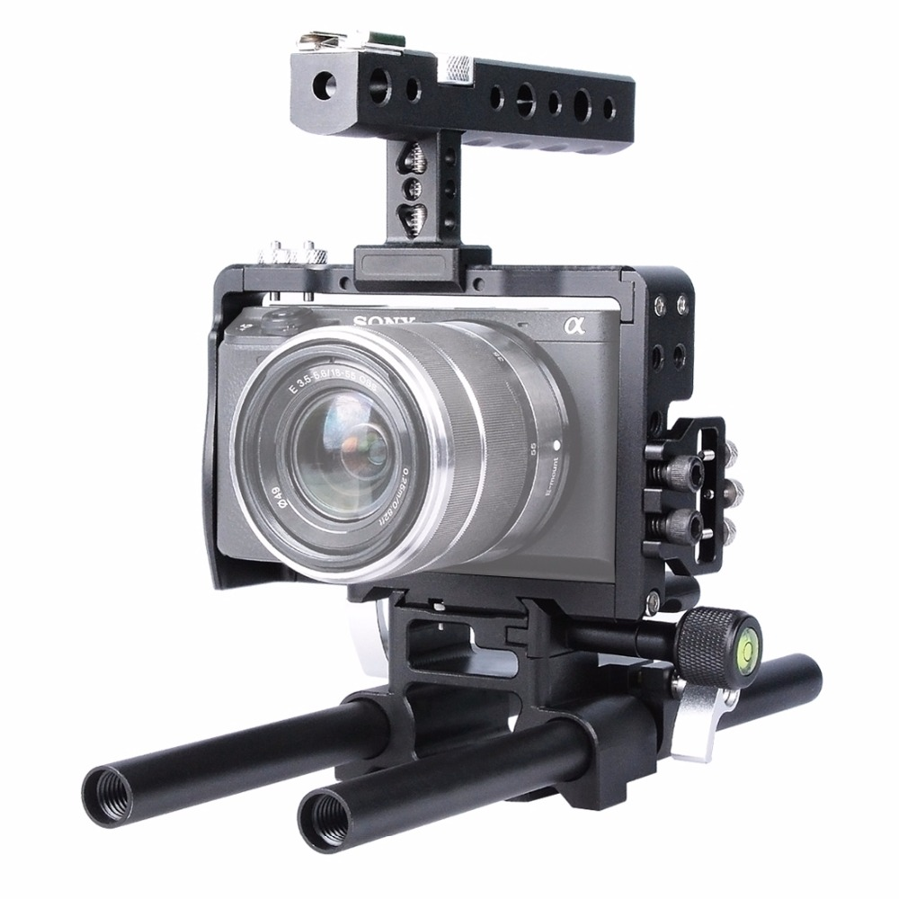 YELANGU Handheld Video Camera Steadicam Stabilizer DLSR Camera Cage Aluminum alloy for Sony A6000 A6300 A6500 Handle Stabilizer yelangu aluminum alloy camera video cage kit film system with video cage top handle grip matte box follow focus for dslr
