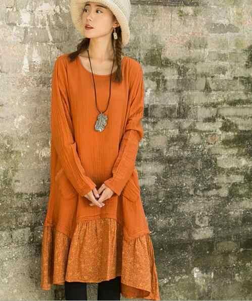 8bae71c07f Spring Female Cotton Linen Floral Print Long Sleeve Women Dress Vintage  Ethnic Mori Girl Loose Gothic