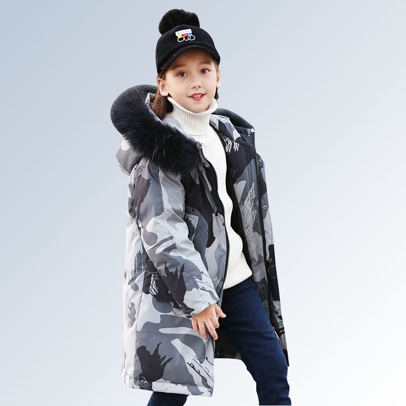 Winter Down Jacket for Boys Girls Coat Kids Thick Hooded Fur Collar Down Jacket Children Warm Outerwear Teen 6 8 10 12 14 Year 2017 winter thick warm children long sections duck down jacket kids girls down jacket for boys hooded collar outerwear coat