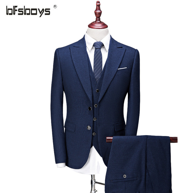 2016 New Arrival Fashion Brand Men Slim Business Formal Suit with Pants  Bridegroom Wedding (Jacket+Vest+Pants)  995