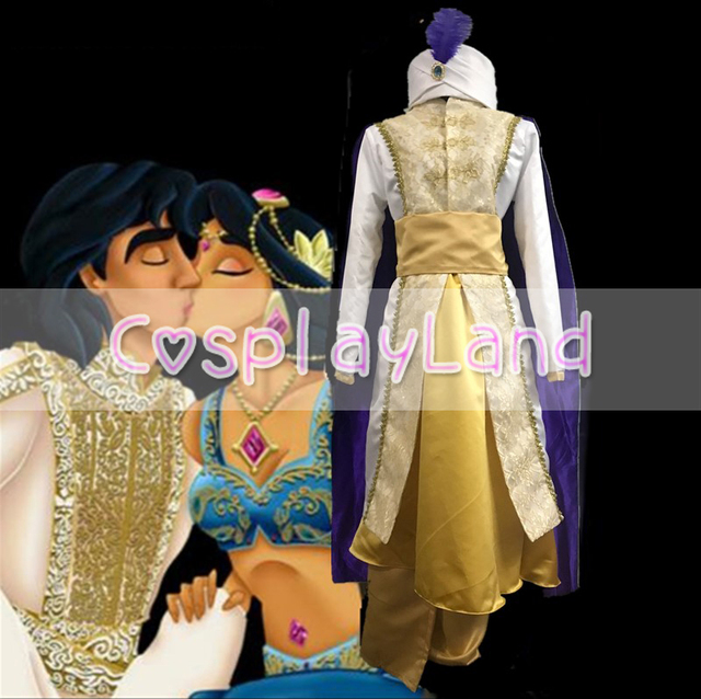 Aladdin and the Magic L& Cosplay Costume Adult Halloween Costume for Men Custom Made Aladdin Prince & Aladdin and the Magic Lamp Cosplay Costume Adult Halloween Costume ...
