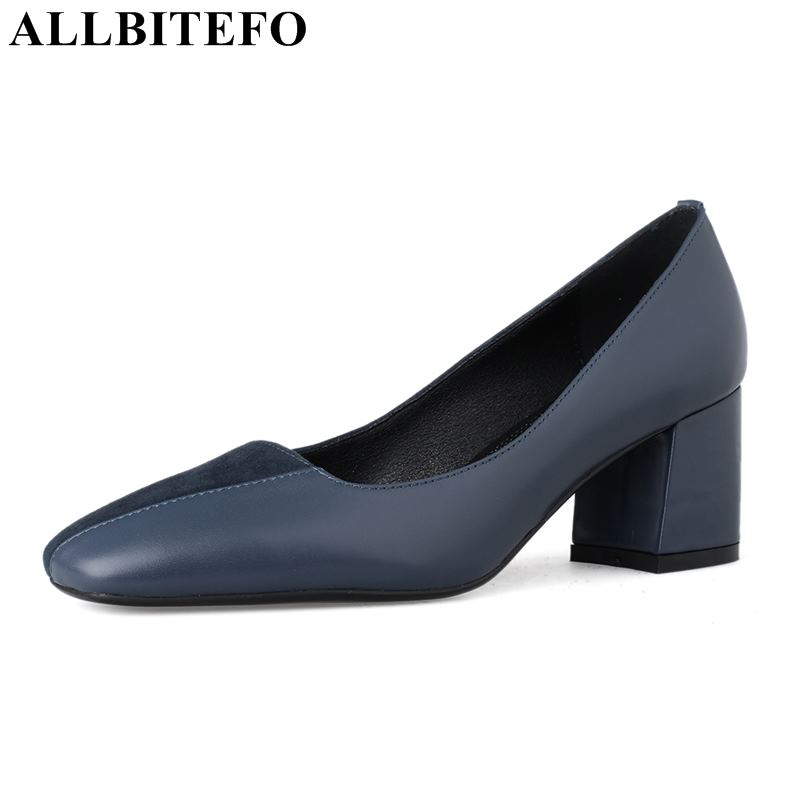 ALLBITEFO fashion brand genuine leather high heels women shoes square toe women high heel shoes spring