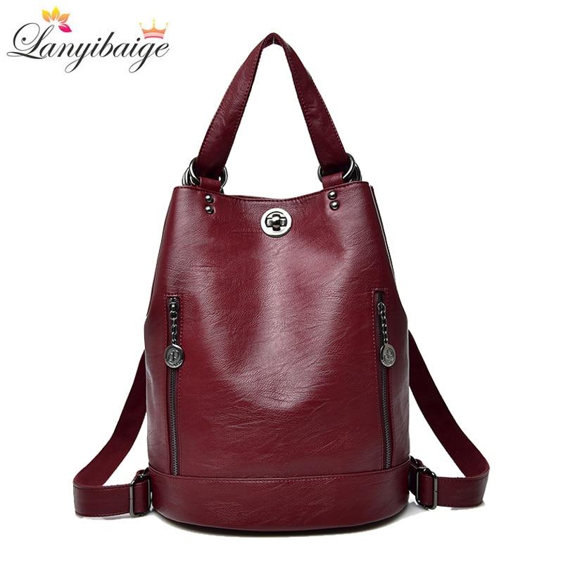 2018 Women Backpack Winter Hot Female Designer Leather Backpack Multifunction School Bags Lady Shoulder Bag Travel Back Pack Sac