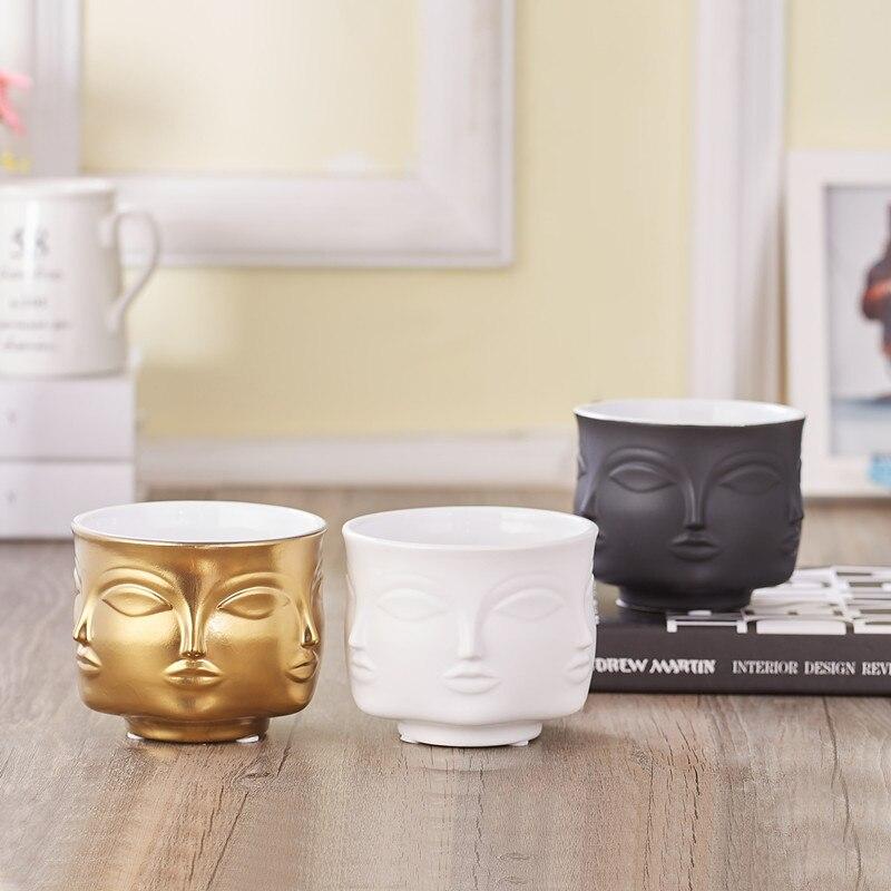 Maceta de cerámica con forma de cara, accesorios de decoración para el hogar, macetas, herramientas blancas negras doradas