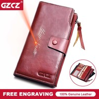 GZCZ Women Wallet Genuine Leather Female Long Coin Purse Cell Phone Pocket Hasp Lady Zipper Walet