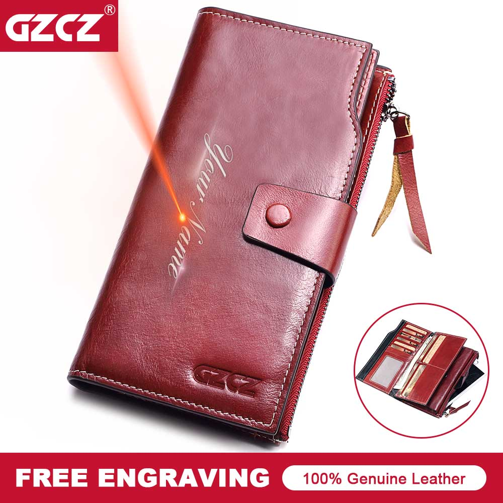 GZCZ Women Wallet Genuine Leather Female Long Coin Purse Cell Phone Pocket Hasp Lady Zipper Walet Clamp For Money Female 2018 цена