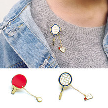1 PC Unisex New Badminton Sports Series Pin Creative Cute Badge Brooches Pang ball Clothing Decoration Fashion Jewelry(China)