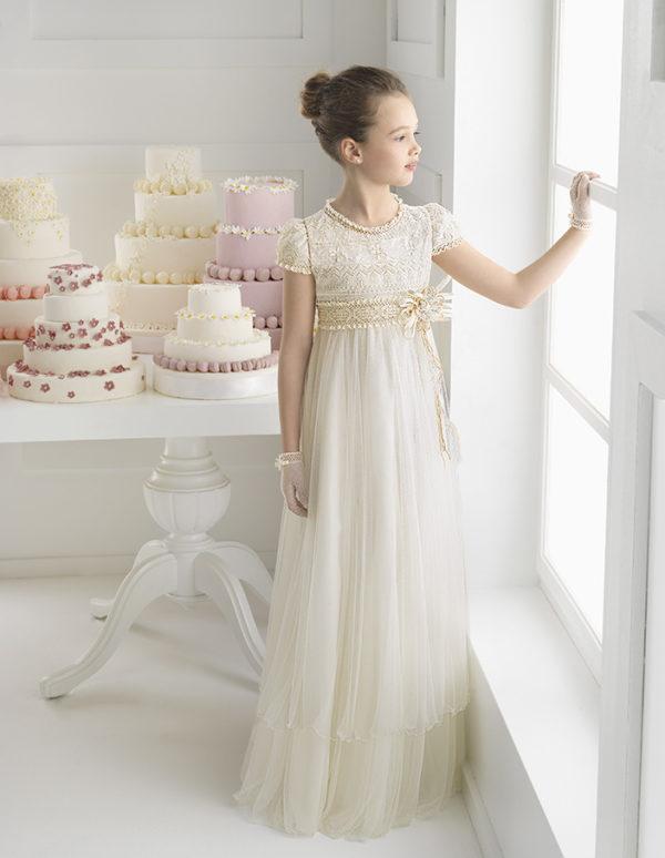 Vintage Princess Flower Girl Dresses Ivory Lace Short Sleeve Floor Length Little Kids Gown Girls First Communion Dress