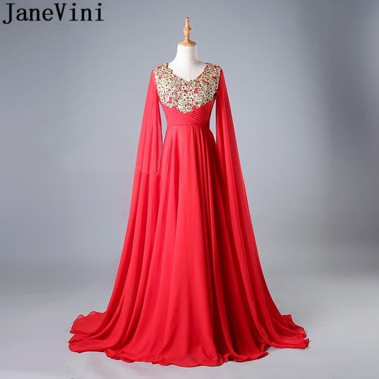 JaneVini arabe étage longueur manches robes de bal liban rouge mousseline de soie robe de demoiselle d'honneur or perlé dentelle Appliques robe formelle