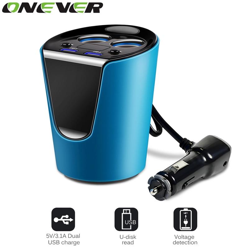 imágenes para Onever Acoplador Portavasos Coche Cigarrillo Electrónico Más Ligero 12-24 V 3.1A Dual USB Cargador de Coche Con Adaptador de Voltaje Pantalla actual