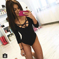 2016 Women Sexy White Lace Up One Piece Bodysuit Bodycon Jumpsuit Overalls For Women Gray Black Rompers Party Slim Jumpsuit mono