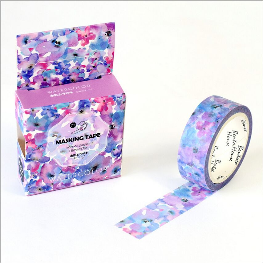 15mm wide the blooming purple flowers swatch washi tape for Tape works decorative tape