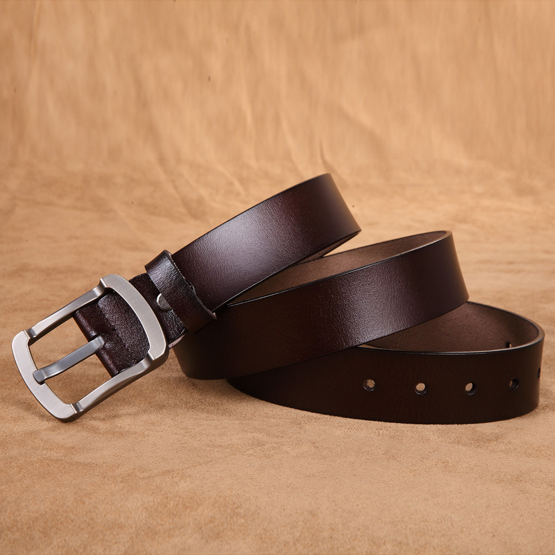 Cody Steel Leather Belt Men Cow Split Leather Pin Buckle Brand Belts For Man Retro Fashion Luxury Belts Male High Quality