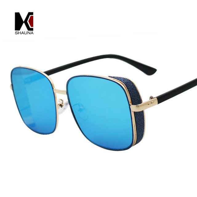 SHAUNA Fashion Glittery Thick Frame Women Square Sunglasses Classic Men Blue Mirror Coating Goggle Sun Glasses UV400