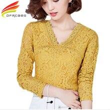 3XL Женщины Кружева Выдалбливают Желтый Зеленый Блузки 2017 Осень мода Повседневная Дамы Топы С Длинным Рукавом Рубашки Femme Blusa Плюс размер