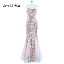 Long Bling Blush Sequin Evening Dress Mermaid Sweetheart Tulle Formal Evening Gowns Customer Made Real Photo SD235BL