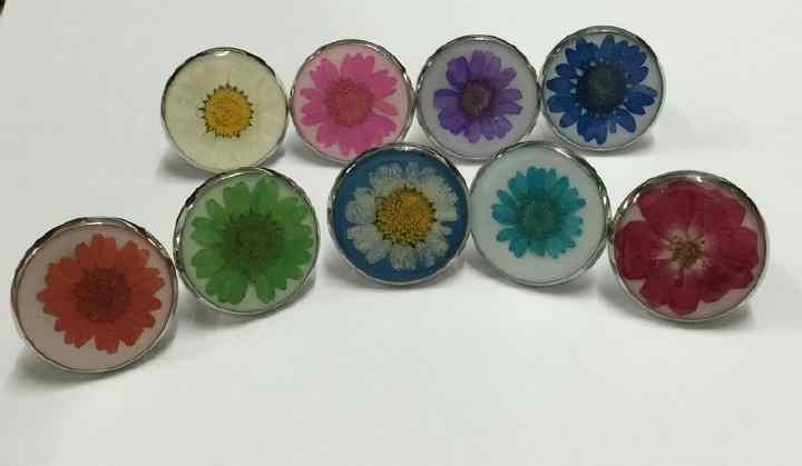 Livraison gratuite 9 anneaux mode vraie fleur séchée ronde style bijoux