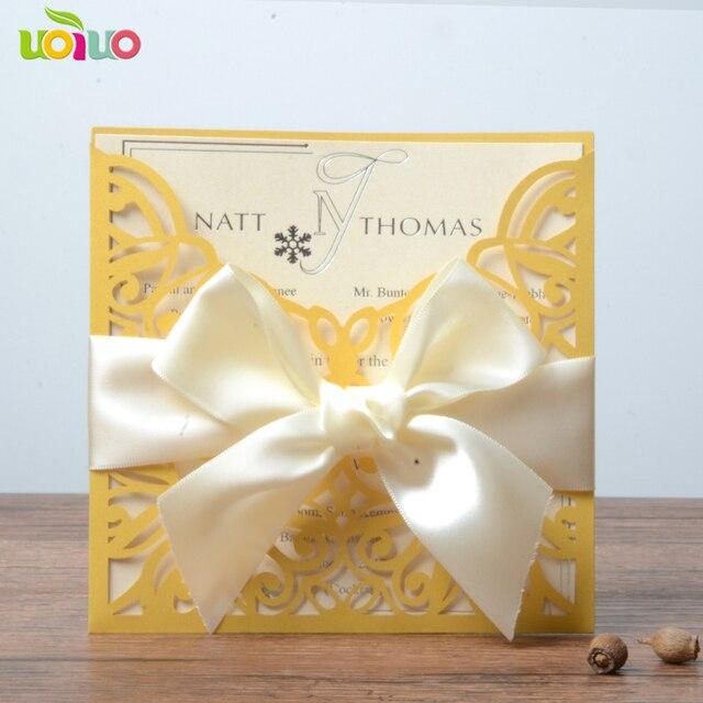 Diy Customzied Inc256 Gold Wedding Invitations Card Pocket Card
