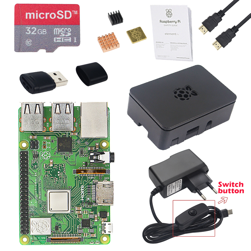 Original Raspberry Pi 3 Model B+ kit + Case + 2.5A Power Supply + 32G SD Card + HDMI Cable + Heat Sink for Raspberry Pi 3 Plus raspberry pi zero v1 3 development kit package e with 2 13inch e paper hat 16gb micro sd card and other basic components