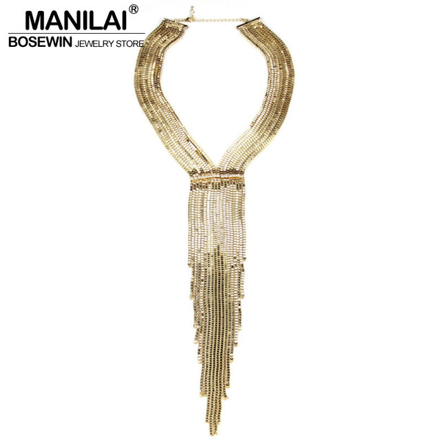 MANILAI Fashion Chain Tassel Collar Rhinestones Long Necklaces Big Statement Jewelry Women Evening Dress Accessories Maxi Bijoux