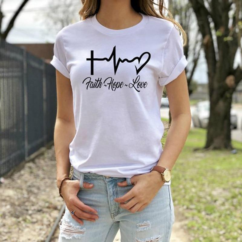 4d605cbe5a18 Online Shop EnjoytheSpirit Women T Shirt Christian Womens Tshirt Faith Hope  Love Heartbeat Tee Shirt O Neck Good Quality Fashion | Aliexpress Mobile