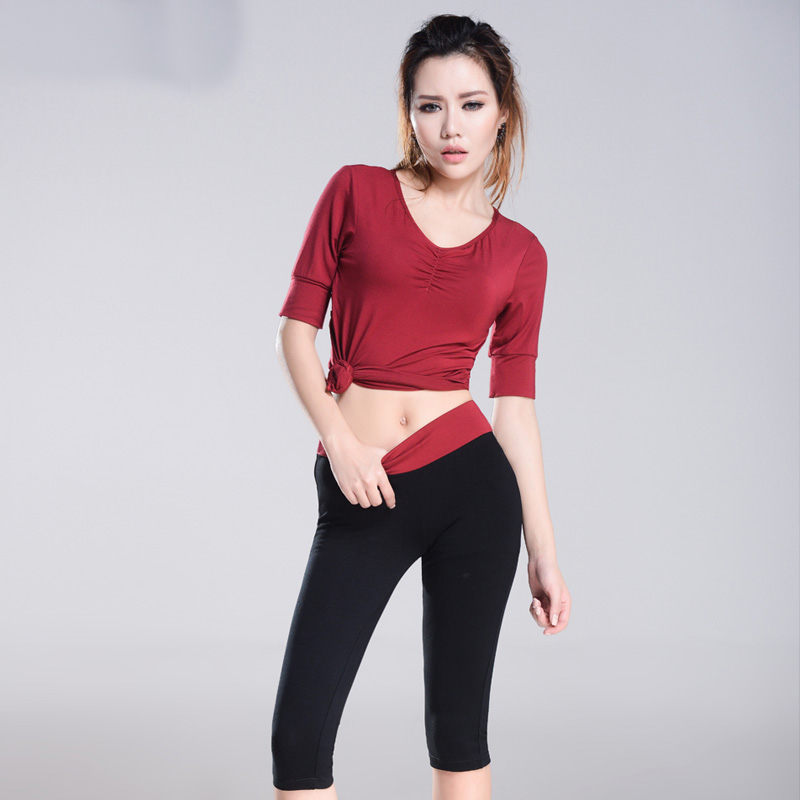 No Pad Summer Women Sport Yoga Set Solid Backless T-Shirts & Pants Gym Clothes Sport Wear Running Outdoor Jogging