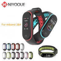 NIYOQUE For Mi Band 3 and 4 Strap Sport Wrist Bracelet Miband3 Silicone Watch For Xiaomi MiBand 3 4 Strap Accessories