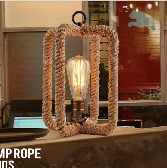 Vintage Corde lampe de table Loft Creative Personnalité Lampe Industrielle Edison Ampoule American Style Pour Salon décoration
