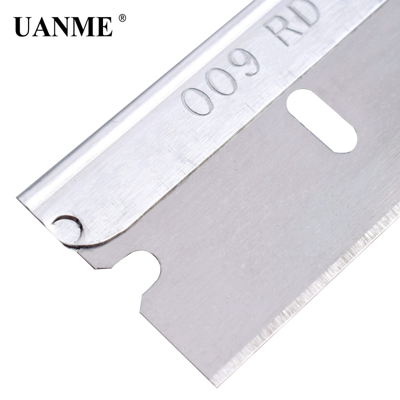 UANME 100 Blades/Box Imported Metal Razor Blades 1PC 39mm*19mm Cleaning Scraper Tools Vinyl Film Window Tint Glue Remove Tool