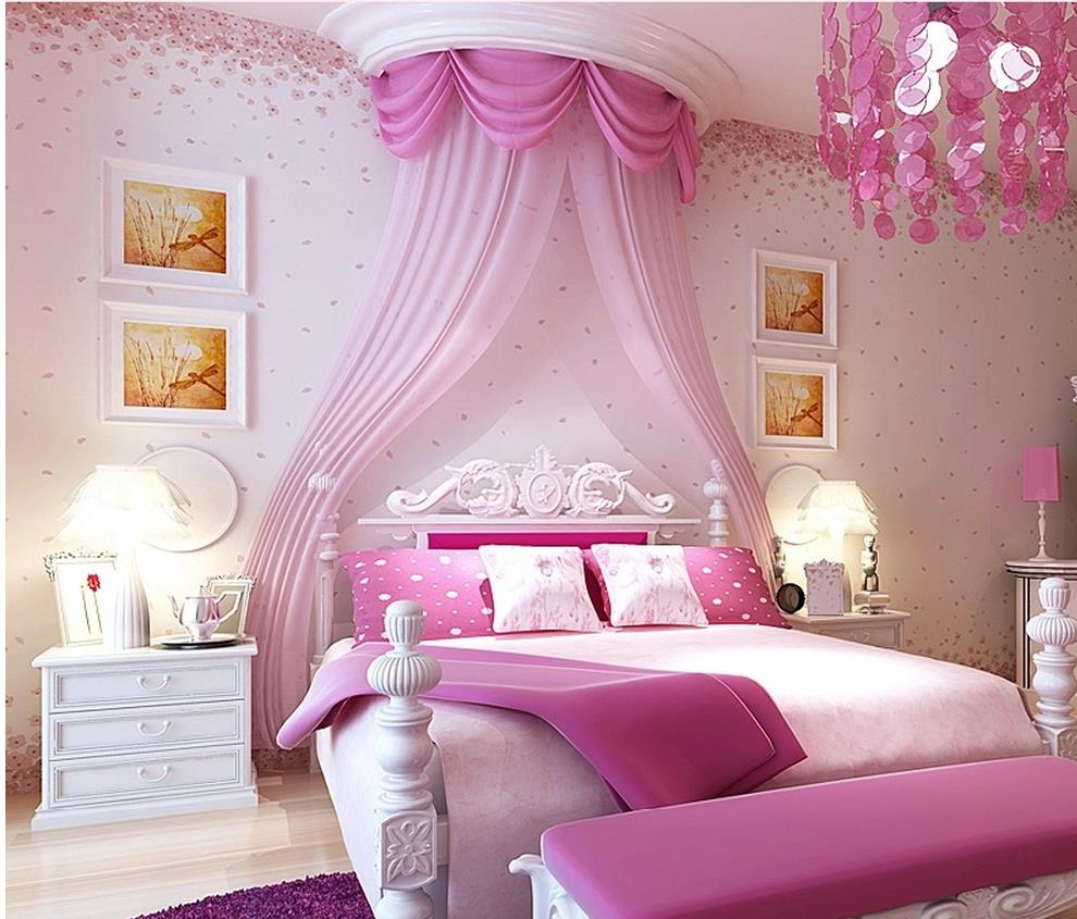 Girly Princess Bedroom Ideas: Modern Style Small Floral Wallpaper Romantic Pink Cherry