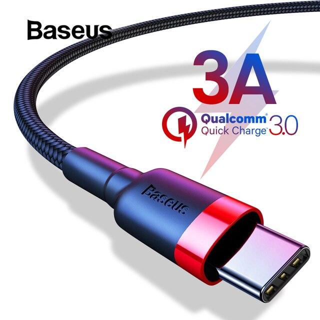 Baseus USB tipo C Cable para Samsung S8 Nota 8 de carga rápida USB 3,0 C para Redmi K20 Pro cable de carga rápida USB C tipo C