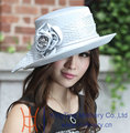 Free Shipping Fashion New Women Hats Church Hat Satin Dress Satin Rose Flower Hat Ladies' 100% Polyester Silver Color Hat
