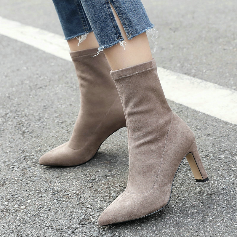 Womens Block Chunky Heels Bowknot Pointed Toe Slim Suede Elastic Ankle Boots