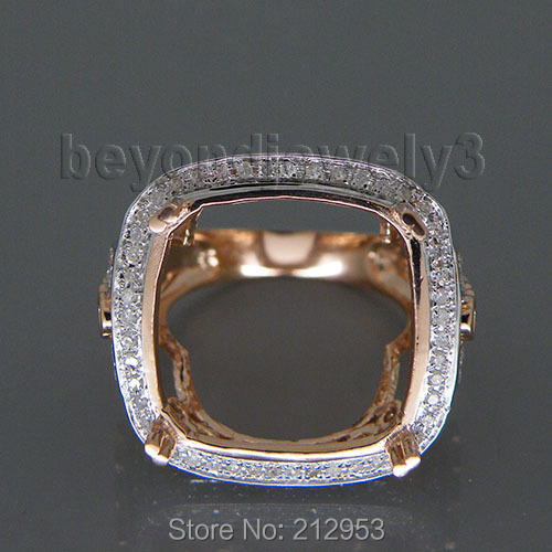 Solid 14Kt Rose Gold Setting Ring,Wedding Semi Mount Ring Cushion 18mm For SaleSolid 14Kt Rose Gold Setting Ring,Wedding Semi Mount Ring Cushion 18mm For Sale