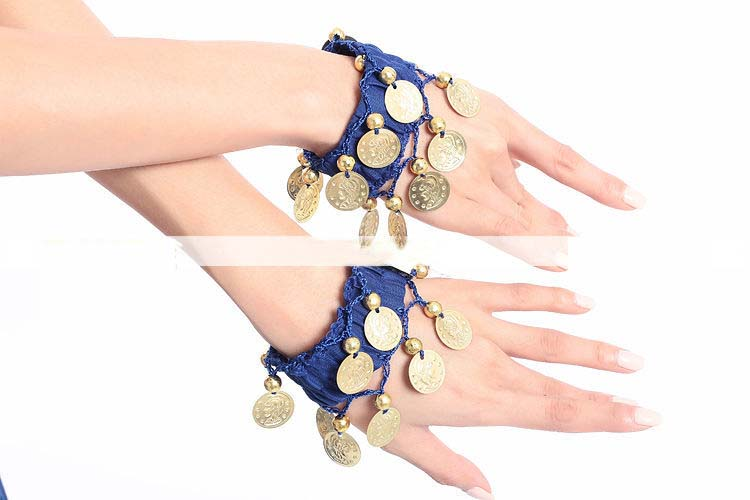 PAIR Belly Dance Women Wear Elastic Wrist Ankle Arm Hand Bracelet Gold Coin Adult Christmas Navidad