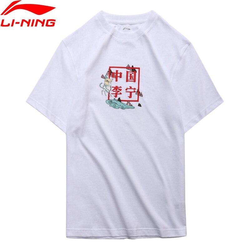 Li-Ning PFW Men The Trend T-Shirt China Li-Ning Printing 100% Cotton Breathable Loose Fit LiNing Sports Tee Tops AHSN899 MTS2881 classic stripe pattern loose fit shirt