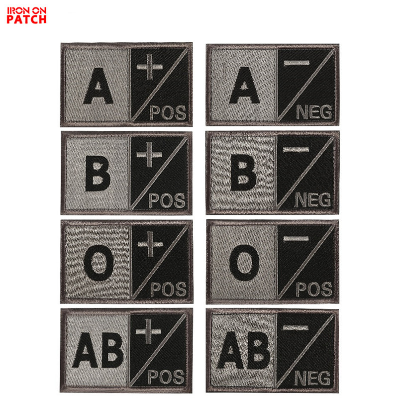 A Negative Blood Group square Patch Embroidered Iron On Patch Sew On Badge Applique