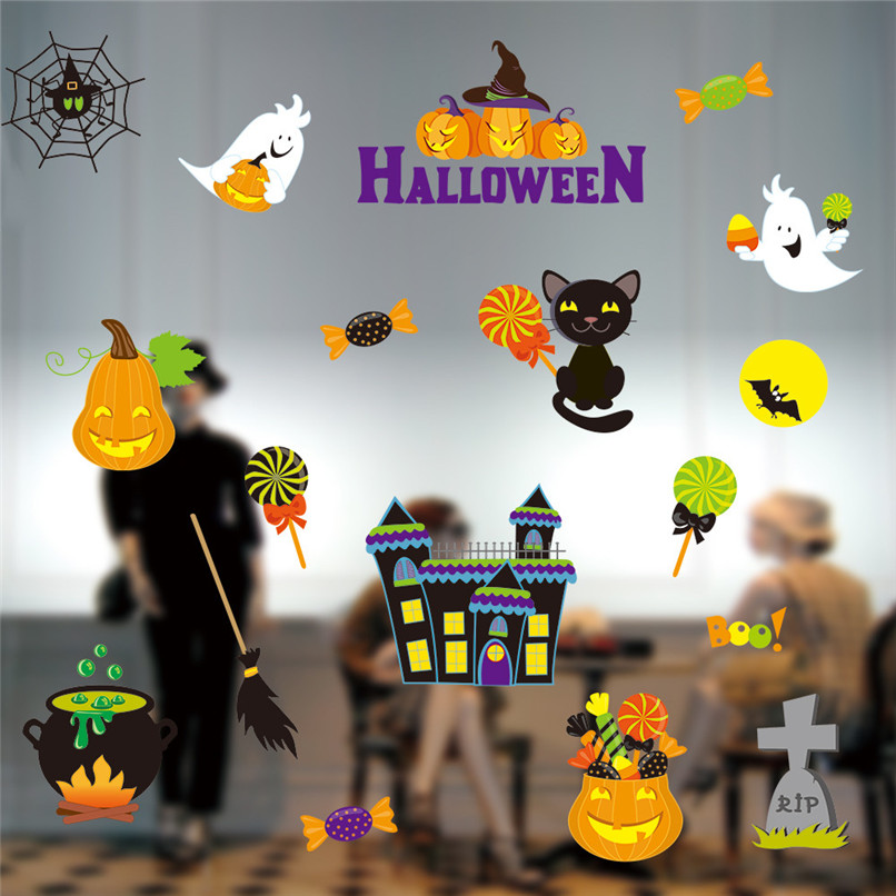 Halloween Static Electricity Removable Wall Stickers Home Room Decoration Wholesale Free Shipping 0aug5#7T10