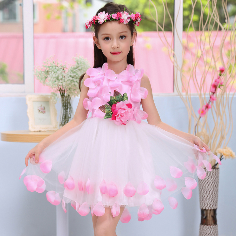 2017 New Fashion Summer Dress Sleeveless Kids Flower Girl Dresses Girls Mesh Bow Tie Party Prom Wedding Baby Girl Clothes dali sub k 14 f white