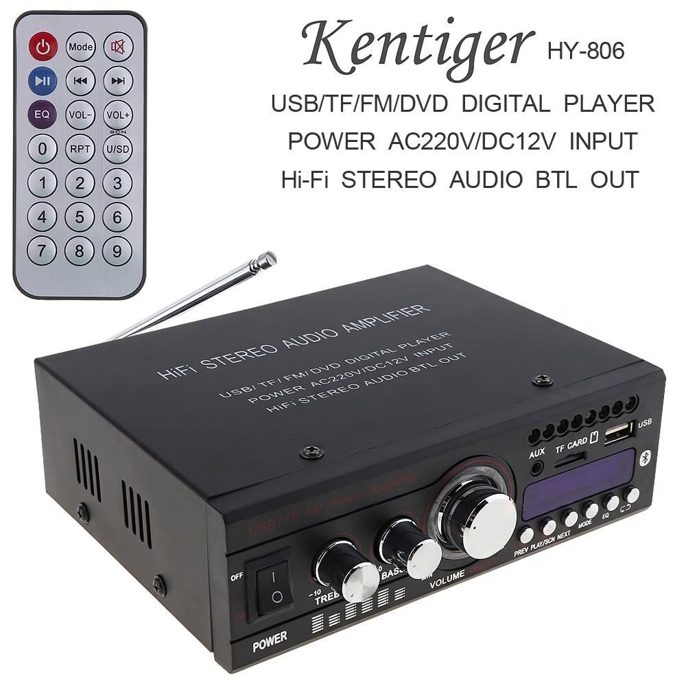 Kentiger DC12V/AC220V/AC110V Bluetooth 2CH Hi-Fi Car Stereo Audio Power Amplifier Digital Player Support USB / SD / FM / DVD s 750 hi fi stereo digital amplifier w fm sd usb for car motorcycle black