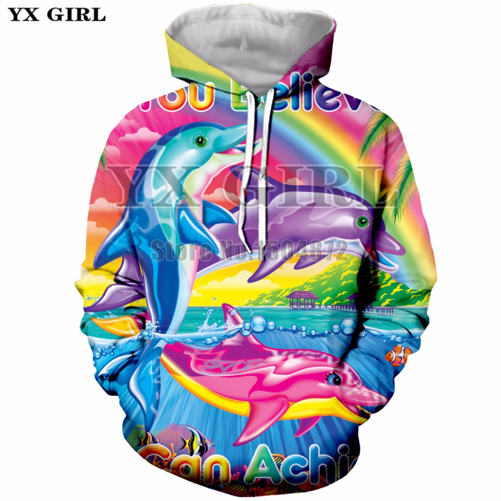 YX Girl Brand Top Cartoon Dolphin Rainbow 3d Printed Hoodies for Women/Men Autumn Hoodie Sweatshirt Casual Pullovers Plus sizze