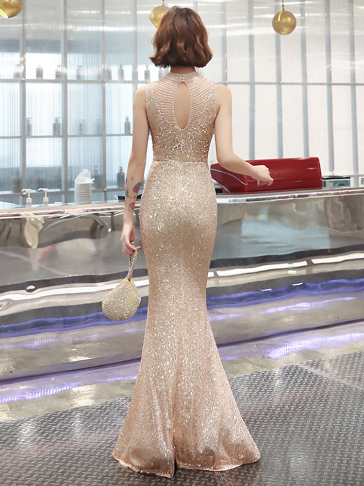 Champagne Sequins Evening Dress See-through Back Elegant Beading Long Evening Party Dresses Gaun Malam