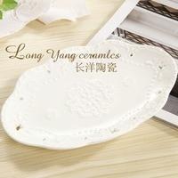 1 Stücke KEYAMA New White lace schmetterling oval geprägt keramische frühstück dessertteller obstteller Geprägte hohl kuchenformen