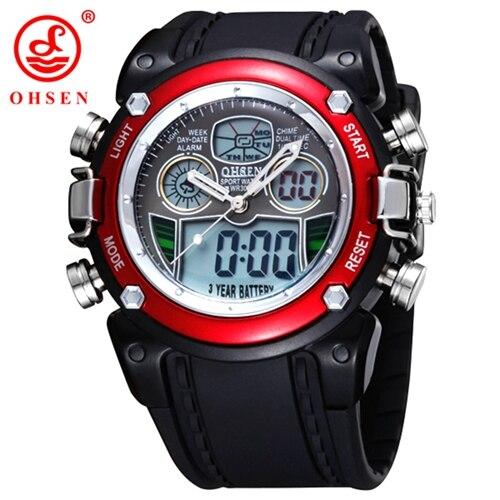 OHSEN lcd Цифровые кварцевые мужские модные часы наручные часы relogio masculino красный Будильник Спорт Плавание Силиконовые часы Секундомер подарки - Цвет: RED