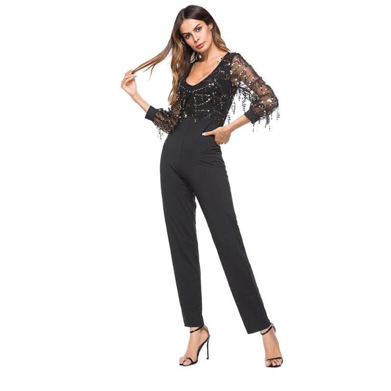 V neck perspective long sleeved sequined women s jumpsuit trousers