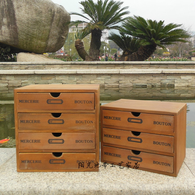 Retro Do The Old Wood Debris Four Drawer Cabinet Storage Cabinets Wooden  Sewing Box Jewelry Cabinet